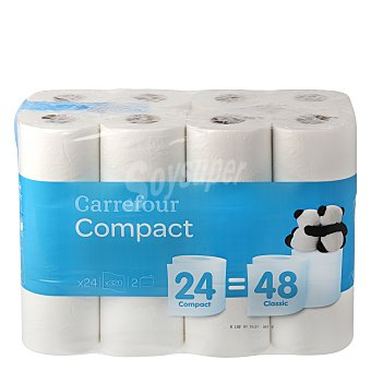 Carrefour Papel higiénico compact doble rollo 24 ud