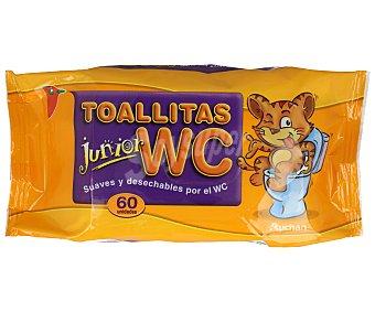 Auchan Toallitas suaves y desechables por el WC, especiales para niños 60 uds