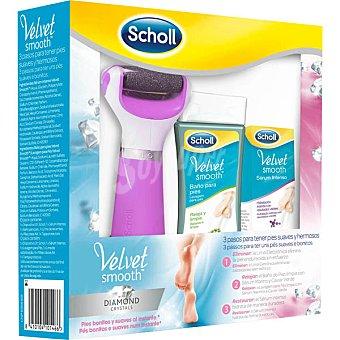 Scholl Velvet Smooth con lima electrónica Diamond Crystals + baño para pies + sérum intenso bote 30 ml bote de 150 ml