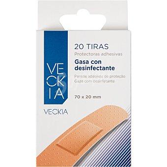 Veckia Tiritas protectoras adhesivas con gasa antiséptica color piel Caja 20 unidades
