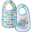 Baberos con dibujos de elefantes Pack 2 OE1607109