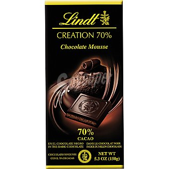 Lindt Chocolate negro 70% cacao relleno de mousse de chocolate Tableta 150 g