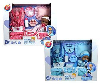 ONE TWO FUN ALCAMPO Conjunto deluxe bebé con función lloro de 40cm con capazo y accesorios alcampo