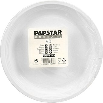 Papstar Platos plástico blanco plano Paquete 50 unidades