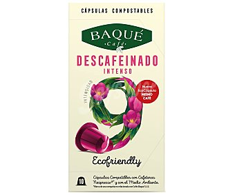Café Baqué Café descafeinado, compostable, intensidad 9 en cápsulas 10 uds