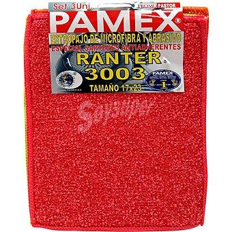 Pamex Estropajo de microfibra y abrasivo especial sartenes antiadherentes 17x23 Envase 3 unidades