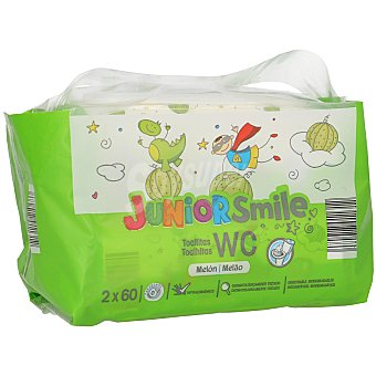 JUNIOR SMILE Toallitas wc niños aroma melón Pack 2 envase 60 ud
