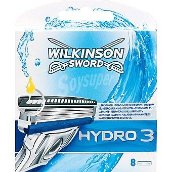 WILKINSON Recambio maquinilla de afeitar Hydro 3 estuche 8 unidades