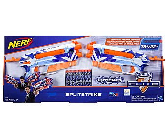 Nerf Set de 2 lanzadores Splitstrike, incluye 8 dardos de foam n-strike elite
