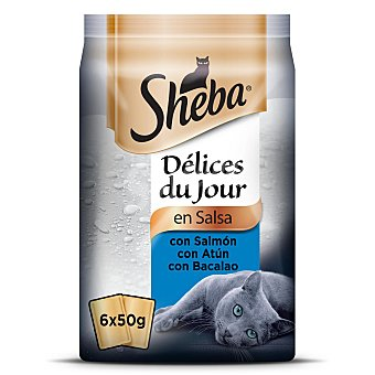 Sheba Comida húmeda de pescado para gatos Sheba Délices du Jour Pack de 6 unidades de 50 g