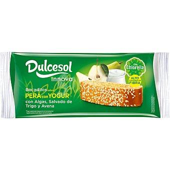Dulcesol Innova bocaditos de pera con yogur con algas, salvado de trigo y avena paquete 210 g 9 unidades