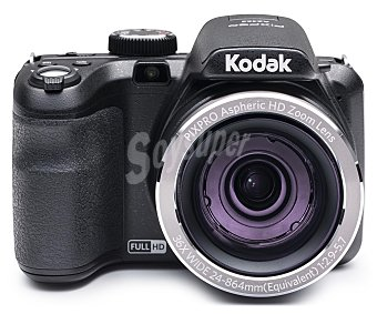 "KODAK AZ362 Cámara Bridge 16 Megapixeles, full HD, gran angular 24mm, pantalla 3"", batería de Litio, color negra."
