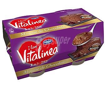 DANONE VITALINEA Mousse de chocolate belga 1,9 % m.g 4 unidades de 60 g