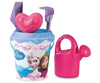 Disney Conjunto de juguetes de playa (pala, rastrillo, regadera, cubo...) y una mochila transparente para llevarlos y guardarlos con el diseño de las princesas de la película Frozen 1 unidad