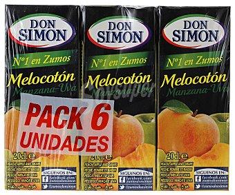Don Simón Zumo de melocotón y uva con vitamina C 6 envases de 200 ml