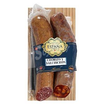Lote 2 embutidos ibericos cebo pieza: chorizo y salchichón Emb. España 800 G 800 g
