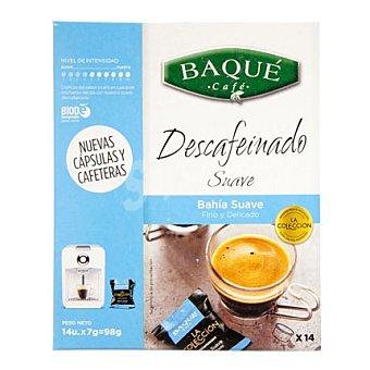 Baqué Cápsulas Café Descafeinado Suave 14 ud