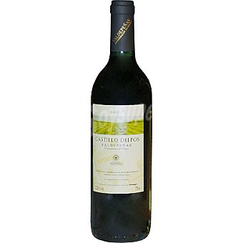 CASTILLO DELFOS Vino tinto joven tempranillo D.O. Valdepeñas elaborado para grupo El Corte Inglés Botella 75 cl