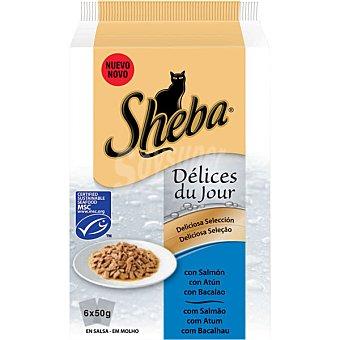 Sheba Deliciosa selección de pescados para gatos 6 bolsas de 50 g