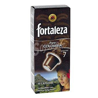 Fortaleza Café Colombia 100% Arábica compatibles con máquinas de café Nespresso 10 Cápsulas - Caja 50 g
