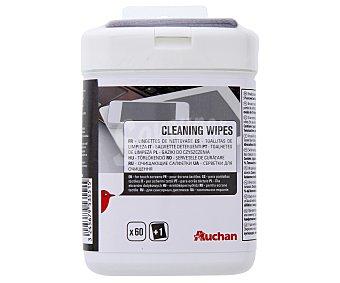 Auchan Toallitas húmedas de limpieza, 60 unidades, especiales para pantallas táctiles, 400285 60u