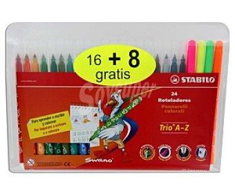 Stabilo Estuche de 24 rotuladores ergonómicos, de punta media bloqueada y de tinta lavable de diferentes colores Trio