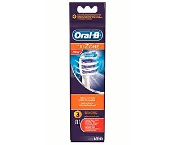 ORAL-B TRIZONE EB30, 3 Recambio cepillo dental profesional Unidades, incorpora triple acción de limpieza profunda, Compatible: Braun Oral B,
