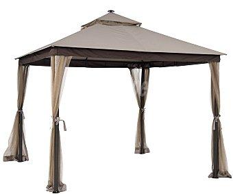 GARDEN STAR Cenador fabricado con estructura tubular de acero gris, cubierta de poliéster beige de 180 gramos, 4 cortinas mosquiteras laterales, 28 leds con captador solar y medidas: 3x3x2.9 metros 180 g