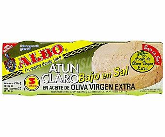 Albo Atún Claro en Aceite de Oliva Virgen Extra Bajo en Sal Lata 3 Unidades