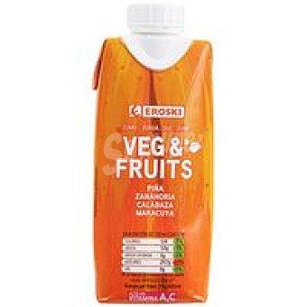 Eroski Zumo fruit&veg piña-zanah.-calabaza-maracuya Brik 33 cl
