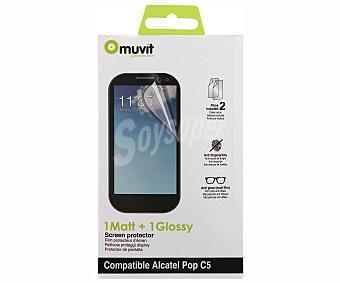 MUVIT Protector de pantalla Alcatel POP C5, 1 mate y 1 brillo,