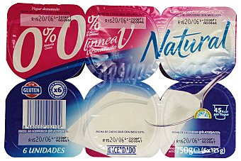 Hacendado Yogur desnatado natural Pack de 6x125 gr