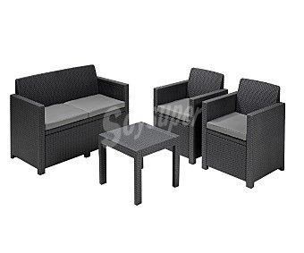 ALLIBERT Conjunto de muebles para porche modelo Alabama compuesto de: 2 sillones de 65x67x77, 1 sofá de 2 plazas de 129x67x77 y 1 mesa de 59x59x43 centímetros, todos ellos fabricados en resina 1 unidad
