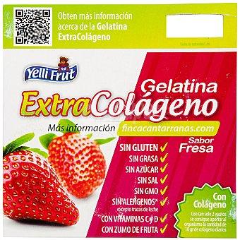 YELLI FRUT EXTRACOLÁGENO Gelatina sabor fresa con colágeno sin azúcar Pack 4 unidades 100 g