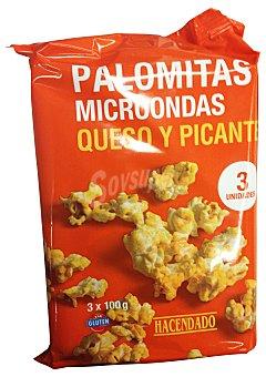 HACENDADO PALOMITAS MICROONDAS SABOR QUESO Y PICANTE PACK 3 x 100 g - 300 g