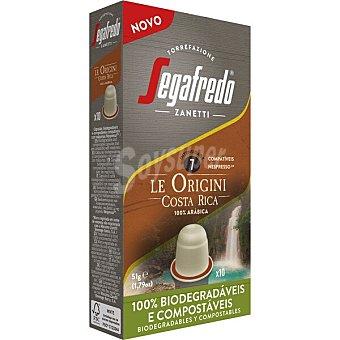Segafredo Zanetti Le Origini Costa Rica café 100% arábica intensidad ápsulas compostables y compatibles con Máquinas Nespresso 7 estuche 10 c