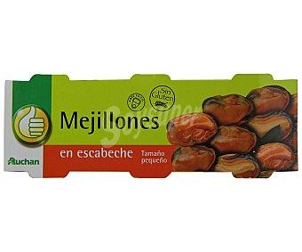 Productos Económicos Alcampo Mejillones en escabeche de Chile Pack de 3 unidades de 43 gramos