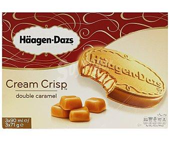 HAAGEN-DAZS Cream Crisp sandwich helado de caramelo con galleta de barquillo estuche 270 ml 3 unidades