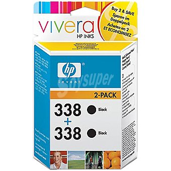 HP Nº 338 cartuchos de tinta color negro Pack 2