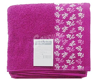 AUCHAN Toalla de algodón para lavabo, estampado jacquard color rosa fucsia, 50 x100 centímetros 1 Unidad