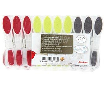 Auchan Pinzas de plástico bimateria, para la ropa, 20 Unidades