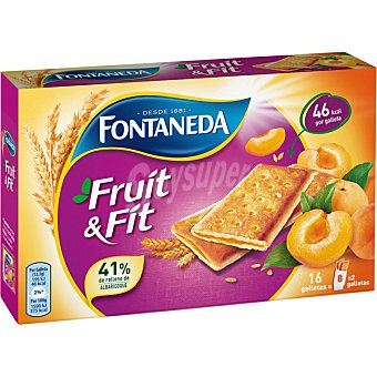 FONTANEDA Galleta rellena fruit & fit albaricoque  paquete 197 g