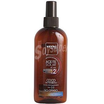 NIEVINA Aceite solar coco bronceado rápido FP-2 antienvejecimiento con vitamina E resistente al agua Spray 200 ml