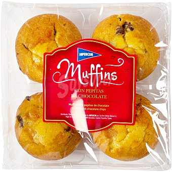 Hipercor Muffins con pepitas de chocolate  4 unidades (300 g)