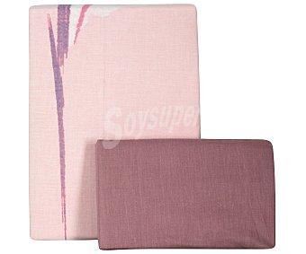 Auchan Juego de funda nórdica de 3 piezas, 50% algodón, 50% poliéster color rosa con estampado de flores, 90 centímetros 1 unidad