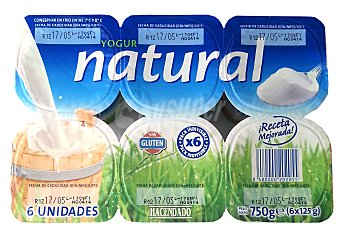 Hacendado Yogur natural Pack 6 x 125 g - 750 g