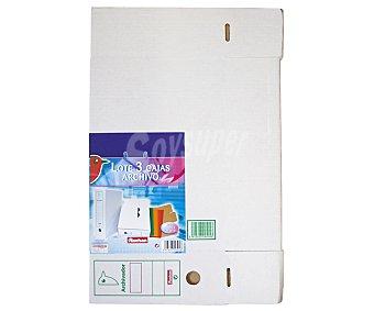 Auchan Lote de 3 cajas de archivos, de tamaño folio y de cartón blanco con lomo personalizable auchan 3u
