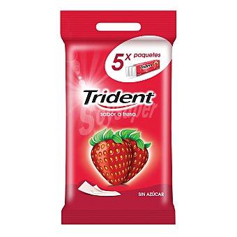 TRIDENT FRUIT Chicles de fresa stick sin azúcar Pack 5 envase 5 unidades