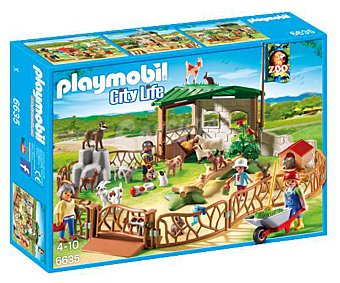 Playmobil Escenario de juego Zoo de mascotas para niños, incluye 4 figuras, City Life 6635 1 unidad