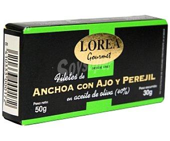 Lorea Filetes de anchoa en aceite de oliva con ajo y perejil 30 gramos